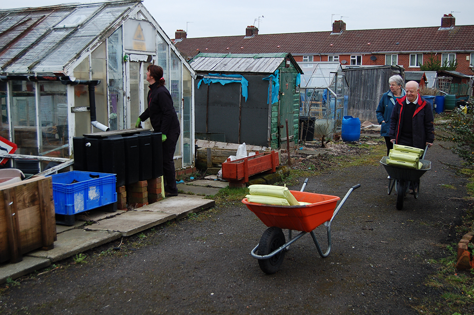 Wharncliffe Allotments, Jan and Bill delivering  free bags of compost