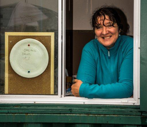 Jan Bentley at Wharncliffe Allotments' shop window